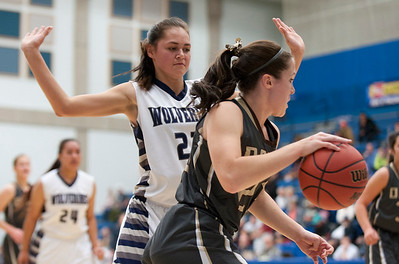 Meaghan Davis # 23 tries to get around Hunter High School's Joycelyn Lui #21 during the Girls State Basketball Tournament. At Salt Lake Community College on February 16, 2015.