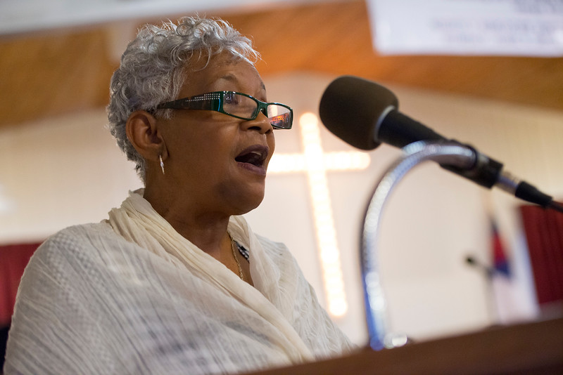 Frances Coates speaks to the ogden church goers as part of the Founders Day of Black History Program at Embry Methodist Church. On February 15, 2014.