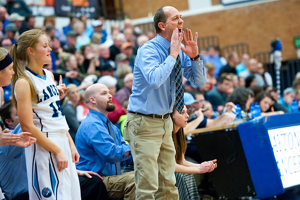 Layton Coach Van Price yells directions to his players on the court. On February 11, 2014. (Brian Wolfer Special to the Standard-Examiner)
