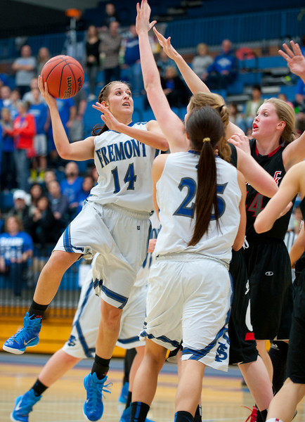 Harley Hansen #14 shoots a mid distance jumper during the State Semifinals. At Salt Lake Community College on February 20, 2015.