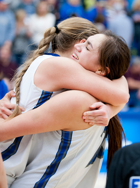 Fremont girls celebrate their win over American Fork. They a set to go to the State Finals at Salt Lake Community College on February 20, 2015.