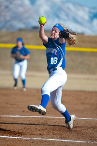 Kierstyn Ketchell #16 pitches a 10-0 victory over Box Elder softball team. In Plain City, at Fremont High School on March 5, 2015