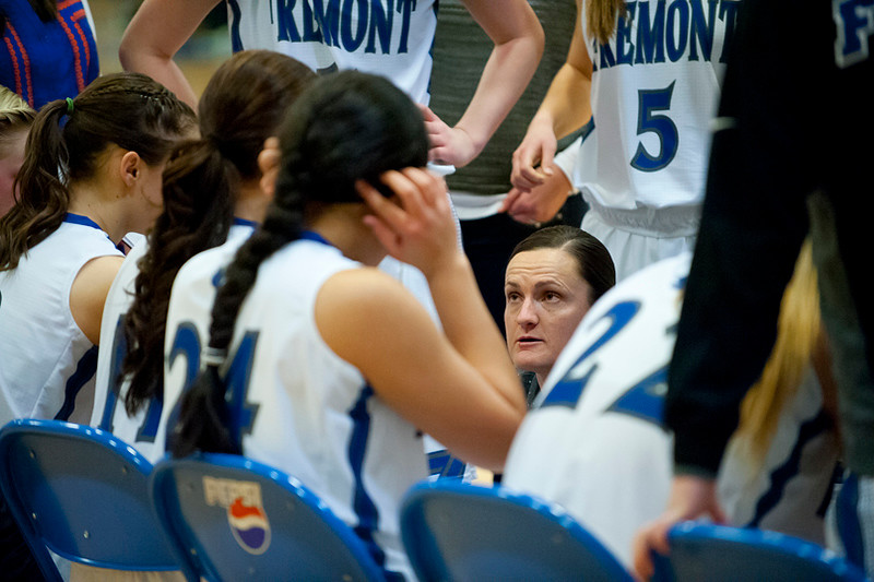 Head Coach Lisa Dalebout motivates her team during a timeout. At Fremont High School On January 14  (Brian Wolfer Special to the Standard-Examiner)