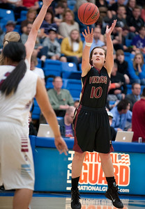 Darbi Ferrell #10 takes the open three pointer. On Monday during the Girls State Basketball Tournament. At Salt Lake Community College on February 16, 2015.