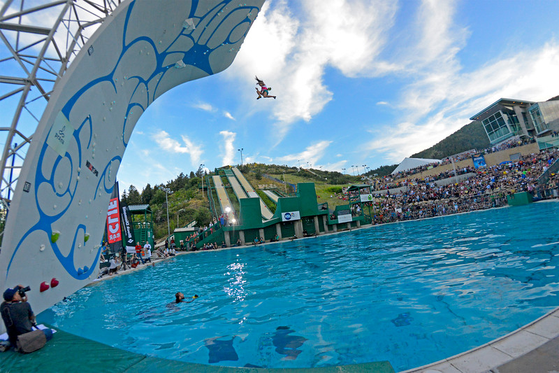 Jacinda Hunter, a nurse and mother of four falls from the top of the Psicobloc climbing wall into the water below. At Utah Olympic Park in Park CIty. On August 2, 2013.(Brian Wolfer Special to the Standard-Examiner)