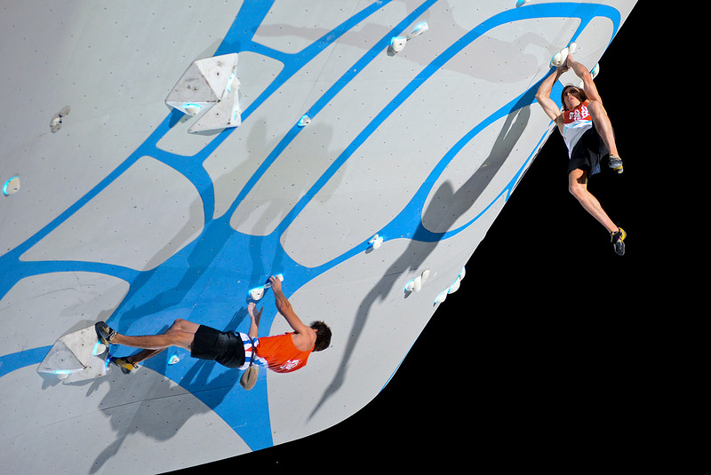 Ryan Swell (left) vs Daniel Woods(right) in the mens final at the Psicobloc Masters Series. At the Utah Olympic Park in Park City, on August 2, 2013.(Brian Wolfer Special to the Standard-Examiner)
