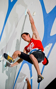 Matty Hong competes against Kevin Jorgeson at the Psicobloc Masters Series. held in Park City, on August 2, 2013.(Brian Wolfer Special to the Standard-Examiner)