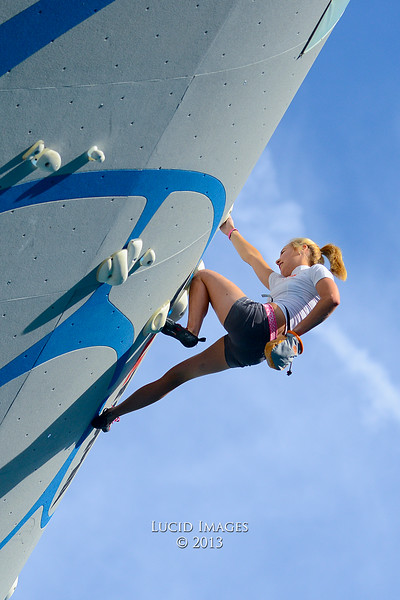 Sasha DiGiulian competes in the Psicocomp deep water soloing competition in Park City.On August 2, 2013.(Brian Wolfer Special to the Standard-Examiner)
