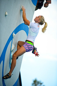 Sierra Coyle competes in the Psicocomp deep water soloing competition in Park City.On August 2, 2013.(Brian Wolfer Special to the Standard-Examiner)