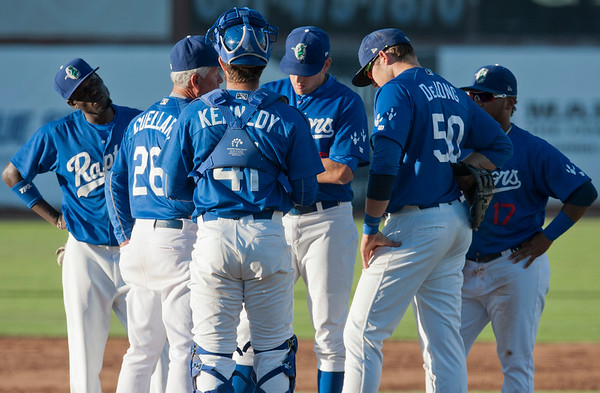 Ogden Raptors regroup after letting the Grand Junction Rockies get a early lead At Lindquist Field in Ogden on June 26, 2015.