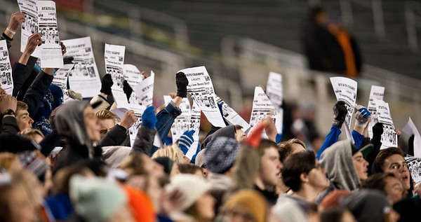 "Timpveiw High crowd chants "" Extra Extra, read all about it as they hold up a fake newspaper that said Timpview won. At Rice-Eccles Stadium. On November 21, 2014 In Salt Lake City."