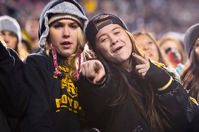 Erika Aaron and Halee Olson cheer on the Roy Royals during the first quarter of the 4-1 Championship game. At Rice-Eccles Stadium. On November 21, 2014 In Salt Lake City