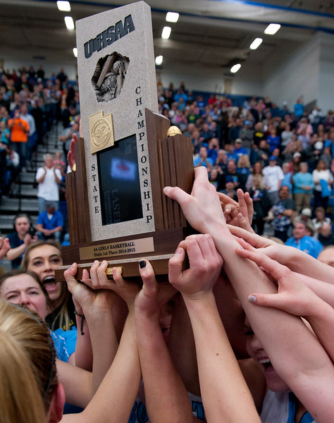 Skyview celebrates their State Championship over Skyline Highschool. At Salt Lake Community College on February 21, 2015.