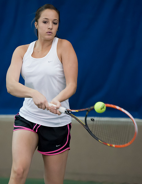 Breezy Tuney from Davis High School hones in her skills in tennis. She is part of a tennis program at Ogden Athletic Club where they plan to manufacture high caliber athletes. In Ogden, On February 24, 2014. (Brian Wolfer Special to the Standard-Examiner)