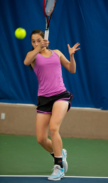 Whitney Turley takes time out of her busy day of high school to practice her skills in tennis. At Ogden Athletic Club. In Ogden, On February 24, 2014. (Brian Wolfer Special to the Standard-Examiner)