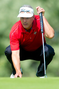 Kirk Siddens eyeballs his put at the Utah Mid-Amateur Championship held at View Golf Course In Layton on June 4, 2015.