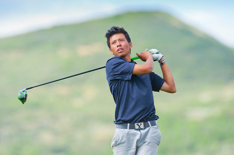 Kai Ruiz has a good drive off the tee during the Utah State Amateur Championship held at Soldier Hollow Golf Course in Midway on July 10, 2015.