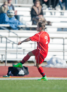 Gavin Nadauld # 2 stops the incoming ball with his foot. At Viewmont High School in Bountiful on March 6, 2015.