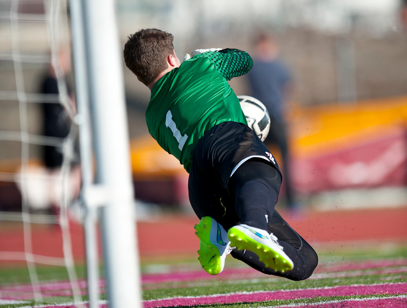 Viewmont goalie  #1 makes a spectacular save against Bountiful high school. At Viewmont High School in Bountiful on March 6, 2015.