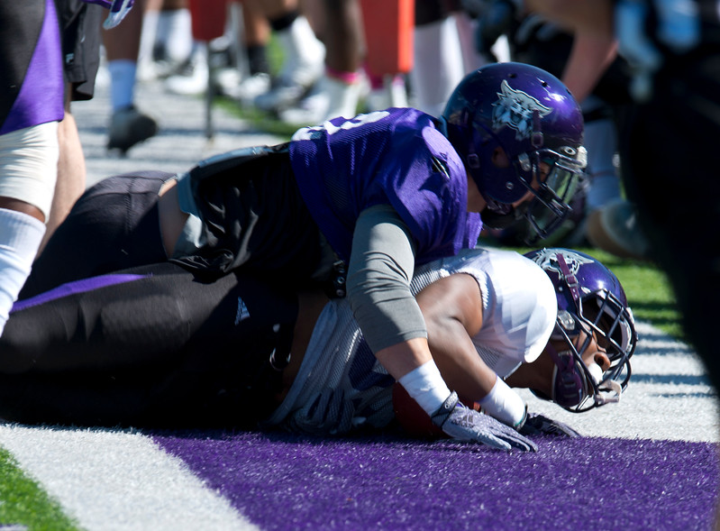 Weber State football team conducts a spring scrimmage. At Stewart Stadium in Weber State University on April 18, 2015.