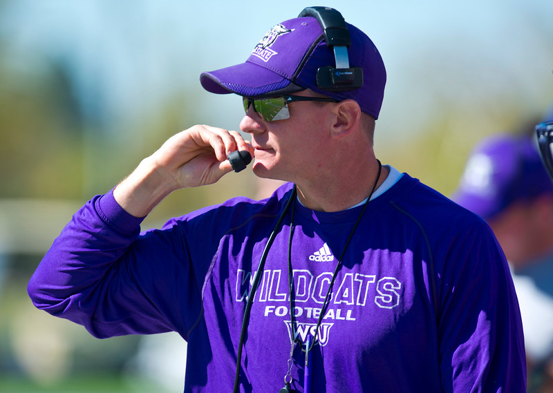 Weber State coach Jay Hill conducts a spring scrimmage. At Stewart Stadium in Weber State University on April 18, 2015