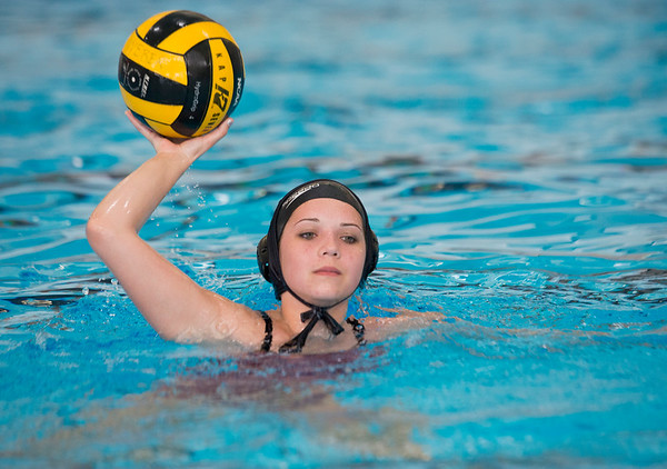 Alana Summerhays practices water polo after school. At Ogden High School on April 16, 2015.
