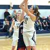 Staff photo by Bryan Helvie<br /> Up for two: Oldenburg Academy forward Ella Lamping goes up for two of 11 points in the first half against Southwestern.