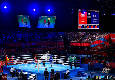 Olympic Boxing Semifinals, 10 August 2012.  The opening bout, Men's Light Fly Weight, won by Shiming Zou of China.