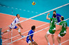 Men's Volleyball, Bronze Medal Match, Italy vs Bulgaria.   Italy's Birarellie in action against Aleksiev and Yosifov of Bulgaria