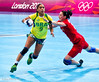 Women's Handball 3 August 2012.  Russia (in red) beat Brazil