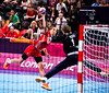 Women's Handball 3 August 2012.  Montenegro narrowly lost to Croatia (in red)