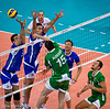 Men's Volleyball, Bronze Medal Match, Italy vs Bulgaria.   Wham! Aleksiev looks like he could box for Bulgaria.