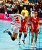 Women's Handball 3 August 2012.  Montenegro (in white) narrowly lost to Croatia