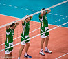 Men's Volleyball, Bronze Medal Match, Italy vs Bulgaria.   Hands on Heads - Yosifov, Bratoev and Aleksiev take their punishment for talking on court.