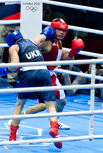 Olympic Boxing Semifinals, 10 August 2012.  Berinchyk of Ukraine came from behind to beat Uranchimeg of Mongolia in the Men's Light Welter weight division.