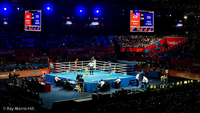 Olympic Boxing Semifinals, 10 August 2012.  The final bout, Mammadov (Azebaijan)vs Russo (Italy) in the Heavy weight division