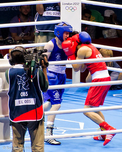 Olympic Boxing Semifinals, 10 August 2012.  Paddy Barnes of Ireland found it tough going against Shiming Zou of China in the Men's Light Fly Weight.