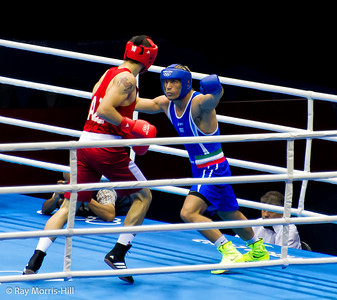 Olympic Boxing Semifinals, 10 August 2012.  The final bout, Mammadov (Azebaijan)vs Russo (Italy) in the Heavy weight division.   Russo tried the two handed punch to win his place in the Olympic final.
