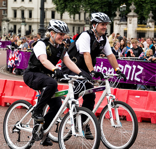 Men's Triathlon, 7 August 2012.   Not the fastest on teh bike route, but the police team still got a cheer from the crowds