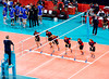 Men's Volleyball, Bronze Medal Match, Italy vs Bulgaria.   Mopping up the sweat.