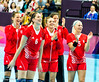 The Croatian Women's Handball team applaud their fans
