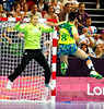 Women's Handball 3 August 2012.  The Russian goalkeeper prepares to save a shot from Da Silva of Brazil