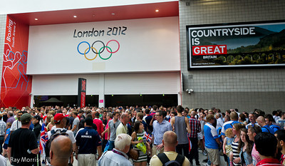 Big crowds outside the Boxing Arena at Excel.