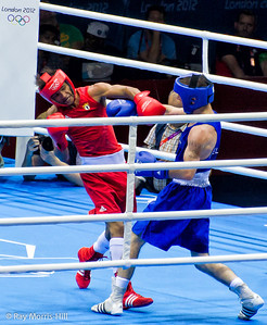 Olympic Boxing Semifinals, 10 August 2012.  John Joe Nevin of Ireland triumphed in a tough match with Lazaro Alvarez Estrada of Cuba in the Men's Bantam Weight.
