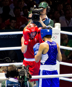 Olympic Boxing Semifinals, 10 August 2012.  Luke Campbell stays focused in his match against Shimuzu of Japan.