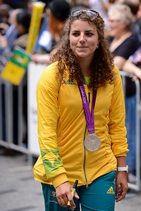 "The ""Silver Fox"": Australian Kayaking Silver Medallist Jessica Fox - Welcome home to Aussie Olympic Athletes; Queen Street Mall,City, Brisbane, Queensland, Australia; 24 August 2012. Photos by Des Thureson - http://disci.smugmug.com. (Camera 1)"