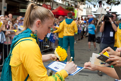 Welcome home to Aussie Olympic Athletes; Queen Street Mall,City, Brisbane, Queensland, Australia; 24 August 2012. Photos by Des Thureson - http://disci.smugmug.com. (Camera 2) - 2012 Australian Olympic Hurdles Gold Medallist Sally Pearson - Signing Autographs.