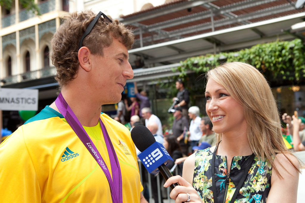 "Channel 9 Interview - Welcome home to Aussie Olympic Athletes; Queen Street Mall,City, Brisbane, Queensland, Australia; 24 August 2012. Photos by Des Thureson - <a href=""http://disci.smugmug.com"">http://disci.smugmug.com</a>. (Camera 2)"