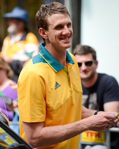 "Boomers Basketball Swing Man Peter Crawford (""PC"")  - Welcome home to Aussie Olympic Athletes; Queen Street Mall,City, Brisbane, Queensland, Australia; 24 August 2012. Photos by Des Thureson - http://disci.smugmug.com. (Camera 1)"
