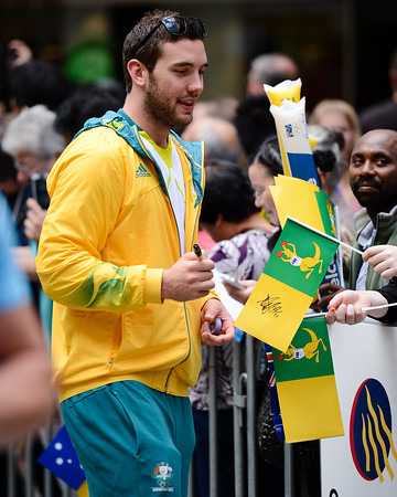 Boomers Basketball Point Guard Adam Gibson - Welcome home to Aussie Olympic Athletes; Queen Street Mall,City, Brisbane, Queensland, Australia; 24 August 2012. Photos by Des Thureson - http://disci.smugmug.com. (Camera 1)